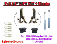 "03 - 08 Dodge Ram 2500 3500 (1500 MEGA) 2WD 3.5"" / 3.5"" LIFT KIT + SHOCKS UBH"