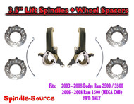 "03 - 08 Dodge Ram 2500 3500 (1500 MEGA) 3.5"" LIFT Spindles + Wheel Spacers"