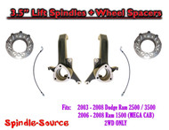 "03 - 08 Dodge Ram 2500 3500 (1500 MEGA) 3.5"" LIFT Spindles + Front Wheel Spacers"