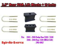 """03-08 Dodge Ram 2500 3500 3.5"""" Fabricated Rear Lift Blocks + U-bolts 4.125"""" Axle"""