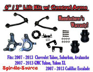 "07 - 13 Chevy SUV 6"" / 3"" FULL LIFT KIT 2WD Spindles +Tubular UPPER CONTROL ARMS"