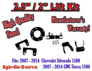 "07 - 2014 Chevy Silverado GMC Sierra 1500 2.5"" F 2"" R FULL Kit Spacer + Shackles"