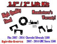 "07 - 2014 Chevy Silverado GMC Sierra 1500 2.5"" F 2"" R FULL Kit Spacer + Shackles"