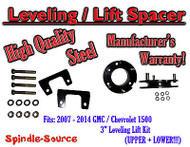"07 - 14 Chevy GMC Trucks and SUVs 3"" Lifting Leveling Strut Spacer Kit STEEL!"