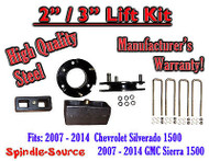"07 - 2014 Silverado Sierra 1500 2"" STEEL Spacer + 3"" Rear Blocks 2""/3"" Lift Kit"