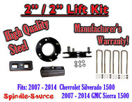 "07 - 2014 Silverado Sierra 1500 2"" STEEL Spacer + 2"" Rear Blocks 2""/2"" Lift Kit"