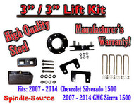 "07 - 2014 Chevy Silverado GMC Sierra 1500 3"" Front 3"" Rear FULL Lift Kit 3""/3"""