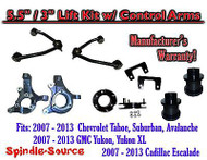 "07 -13 Chevy SUV 5.5"" / 3"" FULL LIFT KIT 2WD Spindles +Tubular UPPER CONTROL ARM"