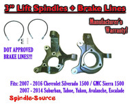 "07-16 Silverado Sierra C1500 2WD 3"" Lift Spindles Knuckles DOT Ext. BRAKE LINES"