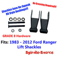 "1"" 2"" Lift Shackles 1983 - 2012 Ford Ranger RB Style Bushing GRADE 8 Hardware"