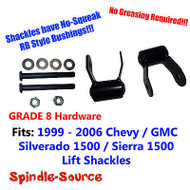 "1.75"" REAR Lift Shackles SET Chevy 99 - 06 Silverado GMC Sierra RB Style GRADE 8"