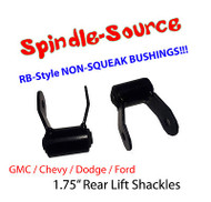 "1.75"" REAR Lift Shackles SET Chevy GMC 88 - 2013 SHORT SHACKLE RB Style Bushing"
