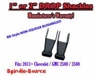 "1"" 2"" Drop Lowering Shackles SET 2011 - 2016 Chevy GMC 2500 / 3500 HD NO SQUEAK"