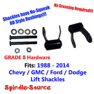 "1.75"" REAR Lift SHORT Shackles SET Chevy GMC 88 - 2014 RB Bushing, GRADE 8 KIT"
