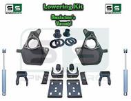 16-18 Silverado Sierra 3/6 Drop Lowering KIT Shackles STAMPED / ALUM ARM SHOCKS