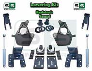 """16-18 Silverado Sierra 4"""" / 4"""" Drop Lowering Spindle KIT STAMPED / ALUM + SHOCKS"""