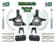 "15+ Silverado Sierra 1500 2WD 5""/4"" Lift Spindle Kit Shackle Shocks STAMPED ALUM"