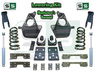 16-18 Silverado Sierra 5/8 Lowering DROP KIT STAMPED / ALUM ARMS V6 SHOCKS + NOTCH