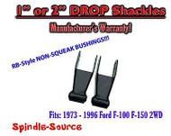 "1973 - 1996 Ford F150 1""/ 2"" Rear Lowering Drop Shackles SET 2WD RB Bushings"