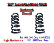 "1982 - 2005 Chevy GMC S10 S15 Jimmy V6 EXT 2.5"" Lowering Drop Coils Springs Kit"