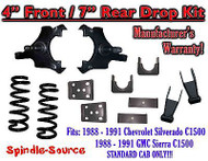 "1988 - 1991 Chevrolet GMC C1500 4"" / 7"" Drop Lowering Kit 4/7 STANDARD CAB ONLY"