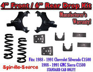 "1988 - 1991 Chevrolet GMC C1500 4"" / 6"" Drop Lowering Kit 4/6 STANDARD CAB ONLY"