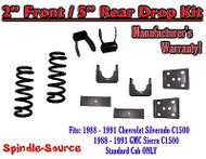 "1988 - 1991 Chevrolet GMC C1500 2"" / 5"" Drop Lowering Kit 2/5 STANDARD CAB ONLY"