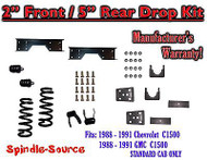 "1988 - 1991 Chevy GMC C1500 2"" / 5"" Drop Lowering Kit 2/5 STANDARD CAB + NOTCH"