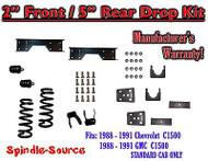 "1988 - 1991 Chevy GMC C1500 2"" / 5"" Drop Lowering Kit 2/5 STANDARD CAB + NOTCH"
