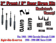 "1988 - 1998 Chevrolet GMC C1500 3"" front 5"" rear Drop Lowering Kit 3/5 + SHOCKS"