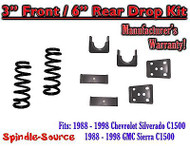 "1988 - 1998 Chevrolet GMC C1500 3"" front / 6"" rear Drop Lowering Kit 3/6 88 - 98"