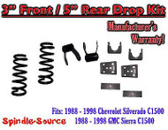 "1988 - 1998 Chevrolet GMC C1500 3"" front / 5"" rear Drop Lowering Kit 3/5 88 - 98"
