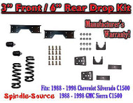 "1988 - 1998 Chevrolet GMC C1500 3"" front / 6"" rear Drop Lowering Kit 3/6 + NOTCH"
