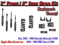 "1988 - 1998 Chevrolet GMC C1500 3"" front 6"" rear Drop Lowering Kit 3/6 + SHOCKS"