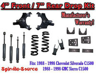 "1988 - 1998 Chevrolet GMC C1500 4"" front 7"" rear Drop Lowering Kit 4/7 + SHOCKS"