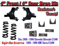 "1988 - 1998 Chevrolet GMC C1500 4"" front / 6"" rear Drop Lowering Kit 4/6 88 - 98"