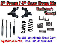 "1988 - 1998 Chevrolet GMC C1500 5"" front 6"" rear Drop Lowering Kit 5/6 + SHOCKS"