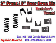 "1988 - 1998 Chevrolet GMC C1500 2"" front / 5"" rear Drop Lowering Kit 2/5 88 - 98"