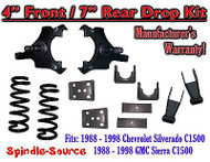 "1988 - 1998 Chevrolet GMC C1500 4"" front / 7"" rear Drop Lowering Kit 4/7 88 - 98"