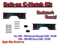 1988 - 1998 Chevrolet GMC C1500 Bolt-on C-notch Cnotch Kit for use with flip kit