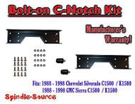 1988 - 1998 Chevrolet GMC C1500 Bolt-on C-notch Cnotch Kit for use with flip kit
