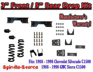 "1988 - 1998 Chevy GMC C1500 3"" front / 5"" rear Drop Lowering Kit 3/5 + NOTCH"