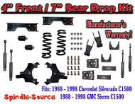 "1988 - 1998 Chevy GMC C1500 4"" F 7"" rear Drop Lowering Kit 4/7 + SHOCKS + NOTCH"