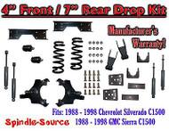 "1988 - 1998 Chevy GMC C1500 4"" F 7"" rear Drop Lowering Kit 4/7 + SHOCKS + NOTCH"