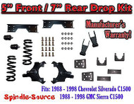 "1988 - 1998 Chevy GMC C1500 5"" F 7"" rear Drop Lowering Kit 5/7 + C-NOTCH Kit"