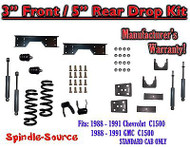 "1988 - 91 Chevy GMC C1500 3"" 5"" Drop Lowering Kit 3/5 STANDARD CAB+ SHOCKS NOTCH"