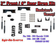 "1988 - 91 Chevy GMC C1500 3"" 6"" Drop Lowering Kit 3/6 STANDARD CAB+ SHOCKS NOTCH"