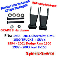 1988 - 2014 DROP Shackles SET Chevy Silverado GMC Sierra 1500 RB Bushing GRADE 8