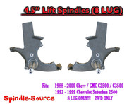 "1988 - 2000 Chevy GMC C2500 C3500, Suburban 2WD 4.5"" Lift Lifting Spindles 8 LUG"