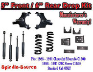 "1988 - 91 Chevrolet GMC C1500 5"" 6"" Drop Lowering Kit 5/6 STANDARD CAB + SHOCKS"